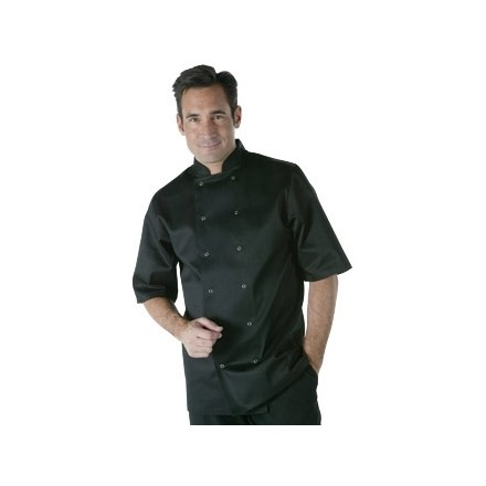 Vegas Chefs Jacket - Short Sleeve Black Polycotton. Size: XS (To fit chest 32 -